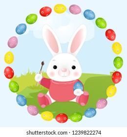 easter bunny artist easter rabbit paints stock vector royalty free