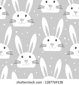 Easter bunny background. Cute seamless pattern with rabbit faces in childish style on grey background. Vector illustration for card, textile, tea towers