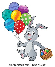 Easter bunny with balloons image 1 - eps10 vector illustration.