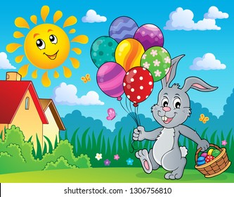 Easter bunny with balloons image 3 - eps10 vector illustration.