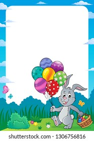 Easter bunny with balloons theme frame 1 - eps10 vector illustration.