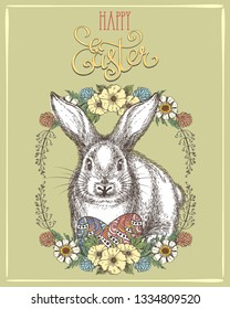 Easter bunny banner. Happy ostern decoration hand drawn rabbit, easters eggs and graphics retro spring color symbols holiday postcard