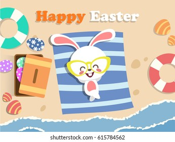 Easter Bunny at beach side.