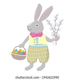 Easter bunny carries basket with colorful eggs and willow branch bouquet.Cartoon vector illustration in pastel colors isolated on white background.