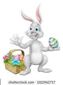 Easter bunny cartoon character rabbit holding a chocolate Easter egg with a basket or hamper