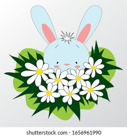 Easter Bunny with chamomiles. Kids design. Cute rabbit.