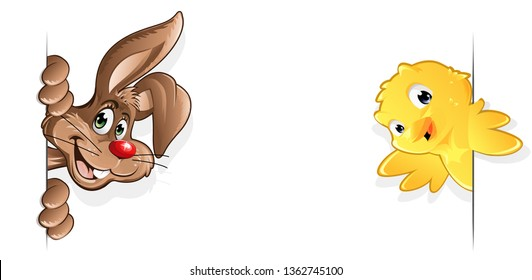 Easter Bunny and Chick smiling from the side happy rabbit chicken