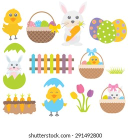 Easter bunny and chick white background
