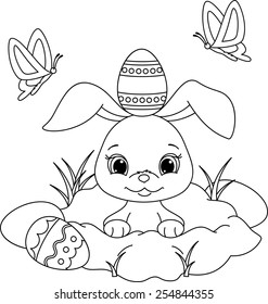 Easter Rabbit Coloring Page Stock Vector (Royalty Free) 626154323 ...