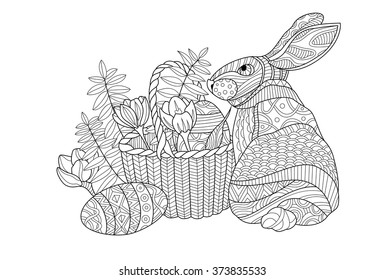 easter bunny coloring page illustration 260nw