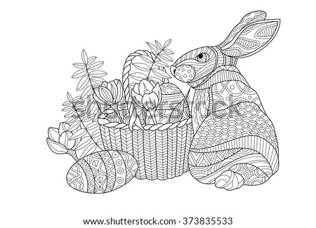 Easter Bunny Coloring Page Illustration Stock Vector Royalty Free