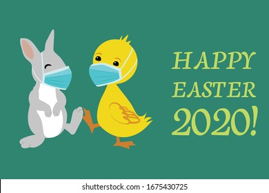 Easter Bunny and Duck wearing face masks against covid-19 and giving foot shake. Easter vector greeting card. Coronavirus alert for 2020.