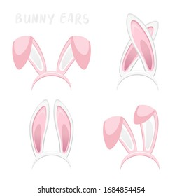 Easter bunny ears collection isolated on white background. Cartoon cute rabbit Headband for poster, banner or invitation cards. Vector illustration