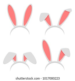 Easter bunny ears mask set isolated on white background. Rabbit ear spring hat in flat style. Headdress, costume isolated element for the celebration of Easter. Vector illustration