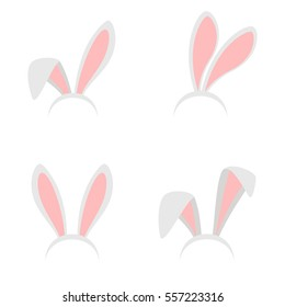 Easter bunny ears mask vector illustration. Ostern rabbit ear spring hat set isolated on white background.