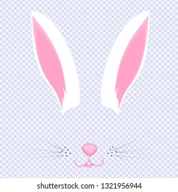 Easter Bunny ears and nose. Mask for carnival, selfie, photo, chat. The face of the animal. Rabbit filter.