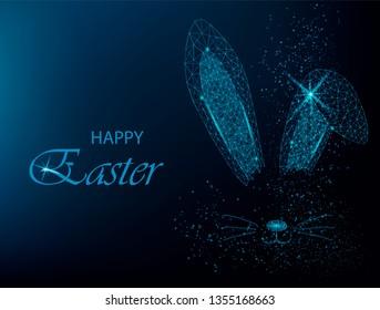Easter bunny ears silhouette. Polygonal rabbit ears. Vector illustration on blue background.