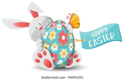 easter bunny and easter egg
