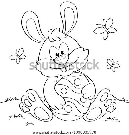 Easter Bunny Easter Egg Black White Stockvector Rechtenvrij