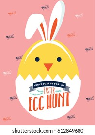 easter bunny egg hunt invitation card template vector/illustration