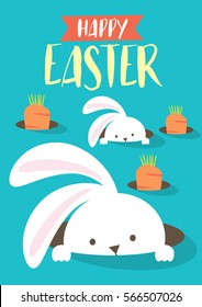 easter bunny egg hunt template vector/illustration
