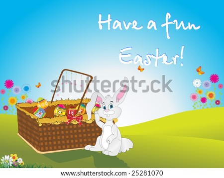 Easter Bunny And Eggs Collection In The Basket Wallpaper