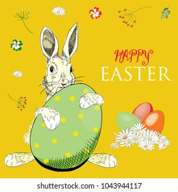 Easter Bunny with Easter eggs with flowers around. Vector illustration on yellow background. Happy Easter