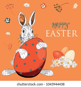 Easter Bunny with Easter eggs with flowers around. Vector illustration on orange background. Happy Easter