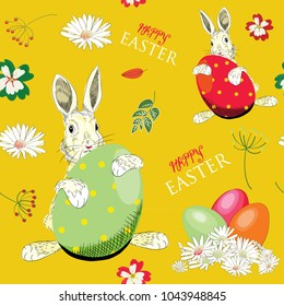 Easter Bunny with Easter eggs with flowers around.  Seamless pattern. Vector illustration on yellow background. Happy Easter