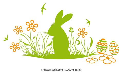 Easter bunny with easter eggs and flowers. Spring time design with swallow birds.