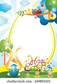Easter with Bunny and Eggs Frame