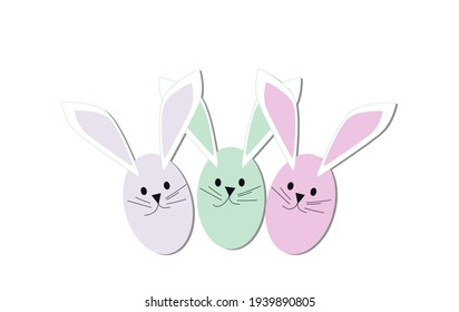 Easter bunny eggs pastel colors on the white background , vector illustration.
