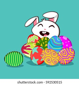 Easter bunny with eggs and pattern on them. Vector cartoon illustration isolated on background. Cute rabbit character for the holiday.
