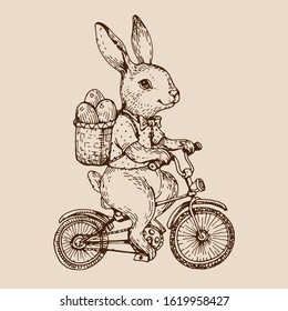 Easter bunny with eggs, vintage cute rabbit riding bike. Hand drawn ink retro illustration.