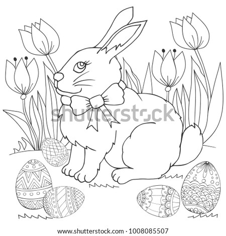 Easter Bunny Flowers Easter Eggs Coloring Stock Vector (Royalty Free ...