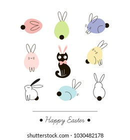 Easter bunny greeting card, holidays design