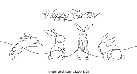 Easter bunny greeting card in simple one line style. Rabbit icon. Black and white minimal concept vector illustration.