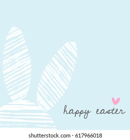 Easter bunny greeting card template with hand drawn white stripes bunny ears and text Happy Easter on pastel blue background.