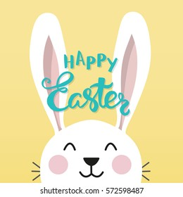 "Easter bunny with a handwritten headline ""Happy Easter"". Vector illustration."