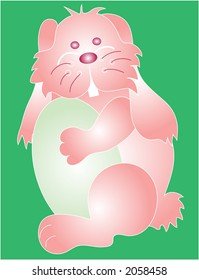 An Easter Bunny hugging an Easter egg graphic.Easily editable and scalable EPS format.