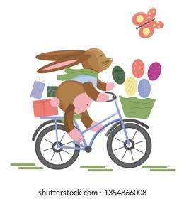 Easter Bunny hurry up by bicycle