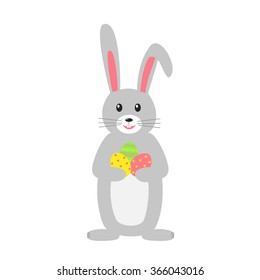 Easter bunny isolated on white background. Rabbit animal vector for card, invitation, banner or flyer. Vector illustration.