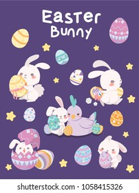 Easter Bunny isolated vector illustration,Cute bunny,Rabbit,Easter Chicken,Easter day,Easter eggs,bunny in egg