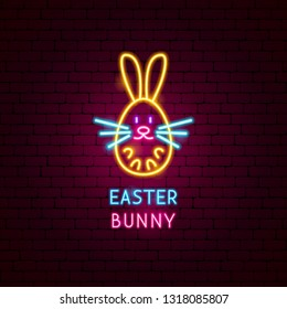 Easter Bunny Neon Label. Vector Illustration of Seasonal Holiday Promotion.