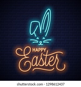 Easter bunny neon sign. Easter rabbit neon ears on wall background