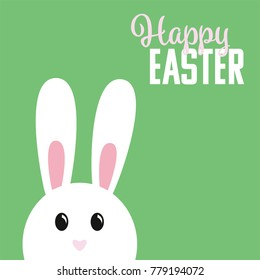 Easter bunny on green background with greeting text