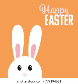 Easter bunny on orange background with greeting text
