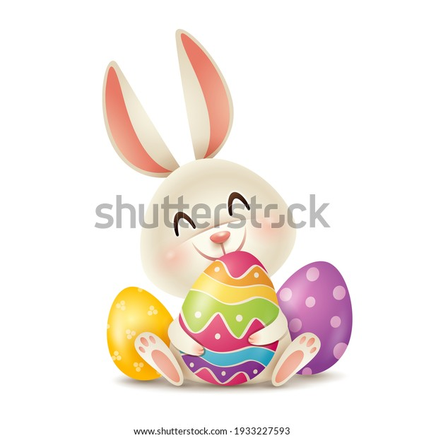 Easter bunny and Easter painted eggs. Isolated.