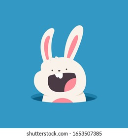 Easter bunny peeps out of the hole vector cartoon illustration isolated on background.