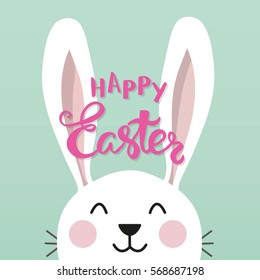 "Easter bunny with a phrase ""Happy Easter"". Vector illustration."
